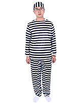 Men Halloween Masquerade Prisoner Movie Cosplay Black Striped Long Slee Party Costume Top Pants Hats   Three-piece