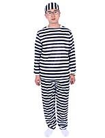 Costume de Soirée / Bal Masqué Prisonier Cosplay de Film Noir Rayé Haut / Pantalon / Chapeau Halloween / Carnaval Masculin Polyester