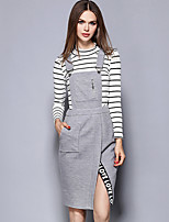 YICHAOFUSHI Women's Casual/Daily Street chic Sheath DressStriped Crew Neck Knee-length Long Sleeve Gray Polyester suit-OMT-Y1402-260