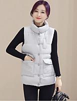 / Polyester Polyester / Cotton Sleeveless Round Neck Blue / Pink / Black / Gray