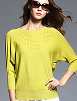 BOMOVO® Mujer Escote Redondo Manga 3/4 Camiseta Amarillo-B16QA58