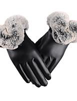 теплый фитнес сенсорный экран кожаные перчатки (черный сенсорный экран)