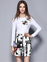Women's Going out Street chic Skirt Suits,Embroidered Round Neck Long Sleeve White Polyester