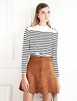 MASKED QUEEN Women's Solid Brown SkirtsVintage Above Knee