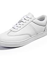 Черный Белый-Унисекс-Повседневный-Полиуретан-На плоской подошве-Удобная обувь-Кеды