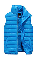 Men's Regular Down Coat,Simple Casual/Daily Solid-Spandex White Duck Down Sleeveless Blue / Orange