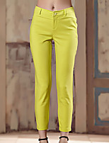 I'HAPPY Women's Solid Blue / White / Black / Yellow Skinny PantsSimple Spring / Summer