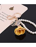 Pearl Chain Rose Pendant Car Key Chain Creative Ladies Bags Phone Shell Pendant