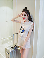Women's Casual/Daily / Sports Simple / Active Short HoodiesAnimal Print Pink / White Round Neck Sleeveless Cotton