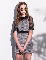 Tee-shirt Femme,Couleur Pleine Sortie Mignon Automne Manches Courtes Col Ras du Cou Blanc / Noir Polyester Moyen