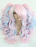 Fashion 70cm Long Blue Mixed Pink Wavy Ponytails High Quality Synthetic Lolita Party Cosplay Wig