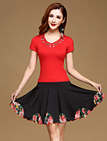 Latin Dance Outfits Training Milk Fiber / Modal Ruffles 2 Pieces Short Sleeve Natural Top / Skirt