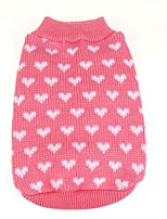 Lovely Winter Pink Heart Pattern  Warm Sweater Puppy Clothing for Pets Dogs (Assorted Sizes)