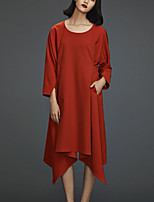Chocolatone Women's Casual/Daily Simple Tunic DressSolid Round Neck Midi  Sleeve Red Polyester / Spandex Spring