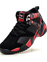 Men's Athletic Shoes Spring Fall Comfort PU Athletic Flat Heel Lace-up Blue Black and Red Black and White Basketball