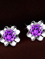 Fine S925 Silver Clover Lucky FLower Stud Earrings