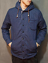 Men's Regular Padded Coat,Simple Casual/Daily Polka Dot-Cotton Cotton Long Sleeve Blue