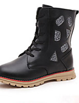 Girl's Boots Fall Winter Comfort Snow Boots PU Dress Casual Flat Heel Zipper Black Red White Walking