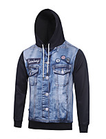 Men's Print Casual / Sport Fake Two Pieces Jeans Print Long Sleeve Men 3d Hoodie