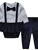 Baby Casual/Daily Striped Clothing Set-CottonBlue