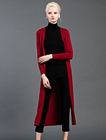 GATHER BEAUTY Women's Going out Simple Long CardiganSolid Red / Gray V Neck Long Sleeve Wool Fall Medium Micro-elastic