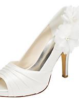 נשים-עקבים-סאטן נמתח-פלטפורמה-שנהב לבן-חתונה שמלה מסיבה וערב-עקב סטילטו פלטפורמה