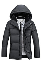 Men's Regular Down Coat,Simple Casual/Daily Solid-Polyester White Duck Down Long Sleeve Black / Gray