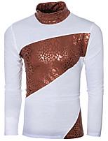 Herren Einfarbig Einfach Lässig/Alltäglich / Sport T-shirt,Rollkragen Herbst / Winter Langarm Weiß / Schwarz PU / Baumwolle Dünn