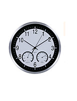 Note WhiteMetal Wall Clock Kitchen Thermometer