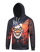 Men's Print Casual / Work / Formal / Sport Hoodie,Polyester Long Sleeve Black
