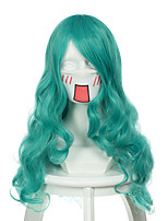 Sailor Moon Sailor Neptune Mixed Light Blue Long Curly Halloween Wigs Synthetic Wigs Costume Wigs
