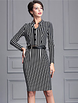 Baoyan Women's Casual/Daily Street chic Sheath DressStriped Boat Neck Knee-length Long Sleeve Black Polyester Fall Mid Rise Micro-elastic Medium-88814