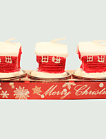 Christmas Candle Cute Little House Shape 3Pcs