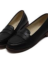 Черный / Коричневый-Женский-На каждый день-Полиуретан-На толстом каблуке-Удобная обувь-Мокасины и Свитер
