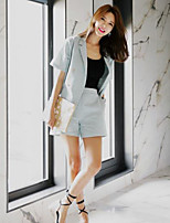 Women's Casual/Daily Street chic Summer Set Pant Suits,Solid Notch Lapel Short Sleeve Green Linen Opaque