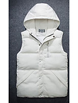 Men's Regular Padded Coat,Simple Casual/Daily Solid-Polyester Without Filling Material Long Sleeve Blue / Red / White / Black