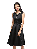 TS Couture® Cocktail Party Dress A-line Notched Knee-length Satin with Sash / Ribbon / Bow(s)
