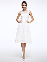 Lanting Bride® A-line Wedding Dress Knee-length Jewel Lace with Sash / Ribbon