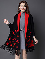 Women's Casual/Daily Simple / Sophisticated Long Cloak / Capes,Jacquard Red / Black / Gray Cowl Long Sleeve Wool Winter Medium