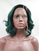 Sylvia Synthetic Lace front Wig Black Roots Green Hair Heat Resistant Middle Length Wavy Bob Synthetic Wigs