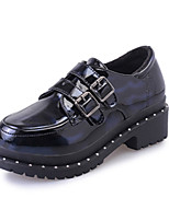 Women's Oxfords Spring Fall Comfort PU Casual Chunky Heel Magic Tape Black Others