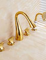 חמישה חורים ti-PVD עתיק שלוש ידיות מפל ברז אמבטיה עם מקלחת יד