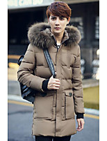 Men's Long Padded Coat,Simple Casual/Daily Solid-Nylon Cotton Long Sleeve Beige
