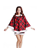 Christmas Costume /Holiday Halloween Costumes Red/Black Plaid Top / Shorts Christmas Female Pleuche