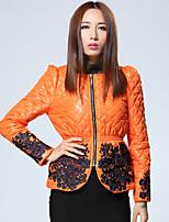 Женский На каждый день / Большие размеры Вышивка КурткаИзысканный Осень / Зима Серый / Оранжевый Длинный рукав,Другое