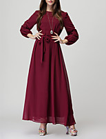 Women's Casual/Daily Simple Loose Dress,Solid Round Neck Maxi Long Sleeve Red / Black Polyester All Seasons Mid Rise Micro-elastic Medium