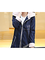 Women's Casual/Daily Street chic Denim Jackets,Solid Hooded Long Sleeve Winter Blue Cotton Thick