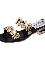 Women's Sandals Summer Comfort PU Casual Chunky Heel Crystal Pearl Black Silver Gold Others