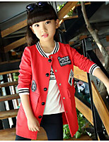 Girl Casual/Daily Color Block Suit & Blazer,Cotton Winter ¾ Sleeve