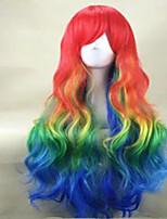 muticolor косплей парик длинные волнистые синтетические радужная термостойкий костюм парик партии